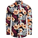 fohemr Mens Slim Fit Floral Dress Shirt Long Sleeve Casual Flower Button Down Shirts Cotton