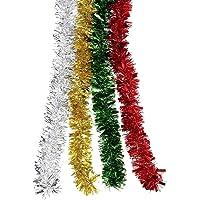 BBTO 4 Pièces Guirlandes de Noël Guirlandes Tinsel Scintillant pour la Décoration de Vacances, 4 Couleurs, 8 Mètres…