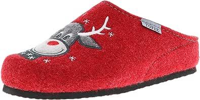Tofee - Pantofole da donna in feltro di lana naturale (renna), colore: Rosso