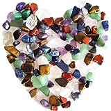 Piedras de cristal natural, mixtas, 7 chakras, en bolsa, alrededor de 100 unidades, peso alrededor de 160 gramos en total, ta