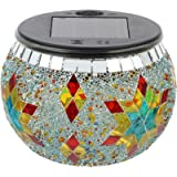 Uonlytech Mosaic Solar Light Outdoor Color Changing Crystal Glass Globe Ball Light LED Table Lamp Waterproof Night Light…
