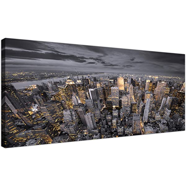 New York City Skyline Grey Black Double