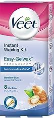 Veet Instant Waxing Kit for Sensitive Skin, 8 strips