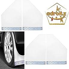 Adroitz Sparco Racing Style Rubberized Car Mudflaps for Ertiga - White - Set of 4