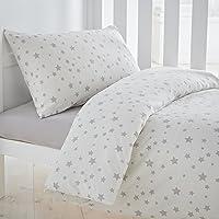 Silentnight Safe Nights Nursery Cot Bed Duvet Cover & Pillowcase Set, Grey Star