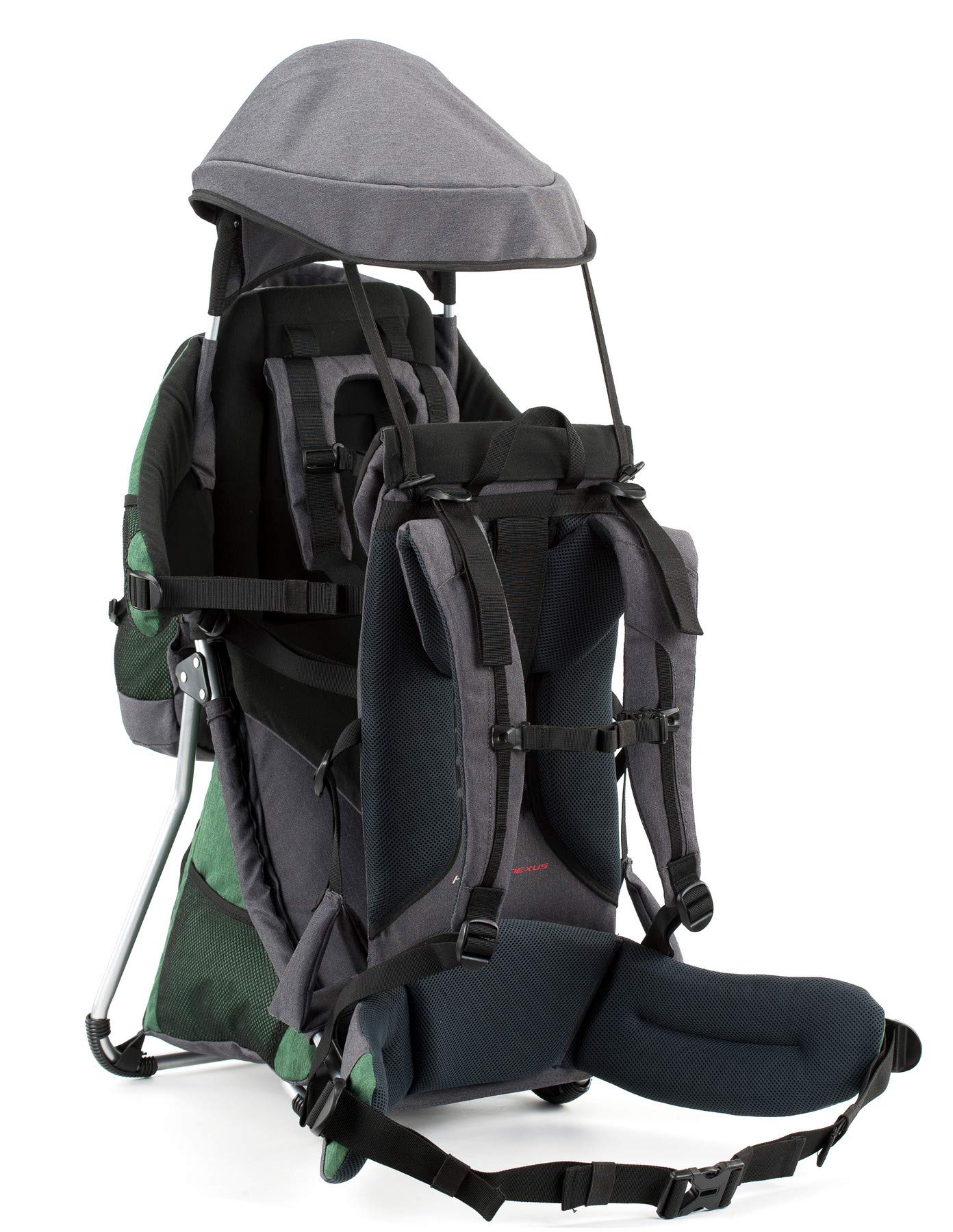 Montis HOOVER NEXUS, Child Hiking Backpack Carrier, suitable for babies & toddlers with a stable seat, low weight suitable, many extras, premium quality (GREEN) M MONTIS OUTDOOR ✅ SAFE - Practical baby carrier backpack completely adjustable with wide 5-point child harness for children weighing up to 25 kg instead of 20 kg. Thanks to height-adjustable seat cushions, padded side panels, a rear headrest, and forehead cushions, it is ideal for hiking in the city or in the country. With reflective elements on the front and back for night protection. ✅ COMFORTABLE - Suitable for both parents thanks to adjustable shoulder straps, a 14 cm adjustable chest strap with a vertical position for women's ergonomics, and reinforced back area (incl. ventilation system) with load distribution to the pelvic belts. We use materials of the highest quality and focus on flawless manufacturing. ✅ SPACIOUS - Removable additional backpack 10L and seat pocket with 18L volume provide the carrier with additional storage space for water bottles, rain protection, sun protection, changing mat and much more. In addition, the straps of the baby carrier are equipped with small quick-access pockets to avoid the need of constantly taking off the carrier. 4