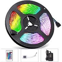 Sunnest Ruban LED 5m 3528 RGB Etanche IP65 Multicolore 300 LED Télécommande Infrarouge 24 Touches/Adapteur/Alimentation 2A 12V