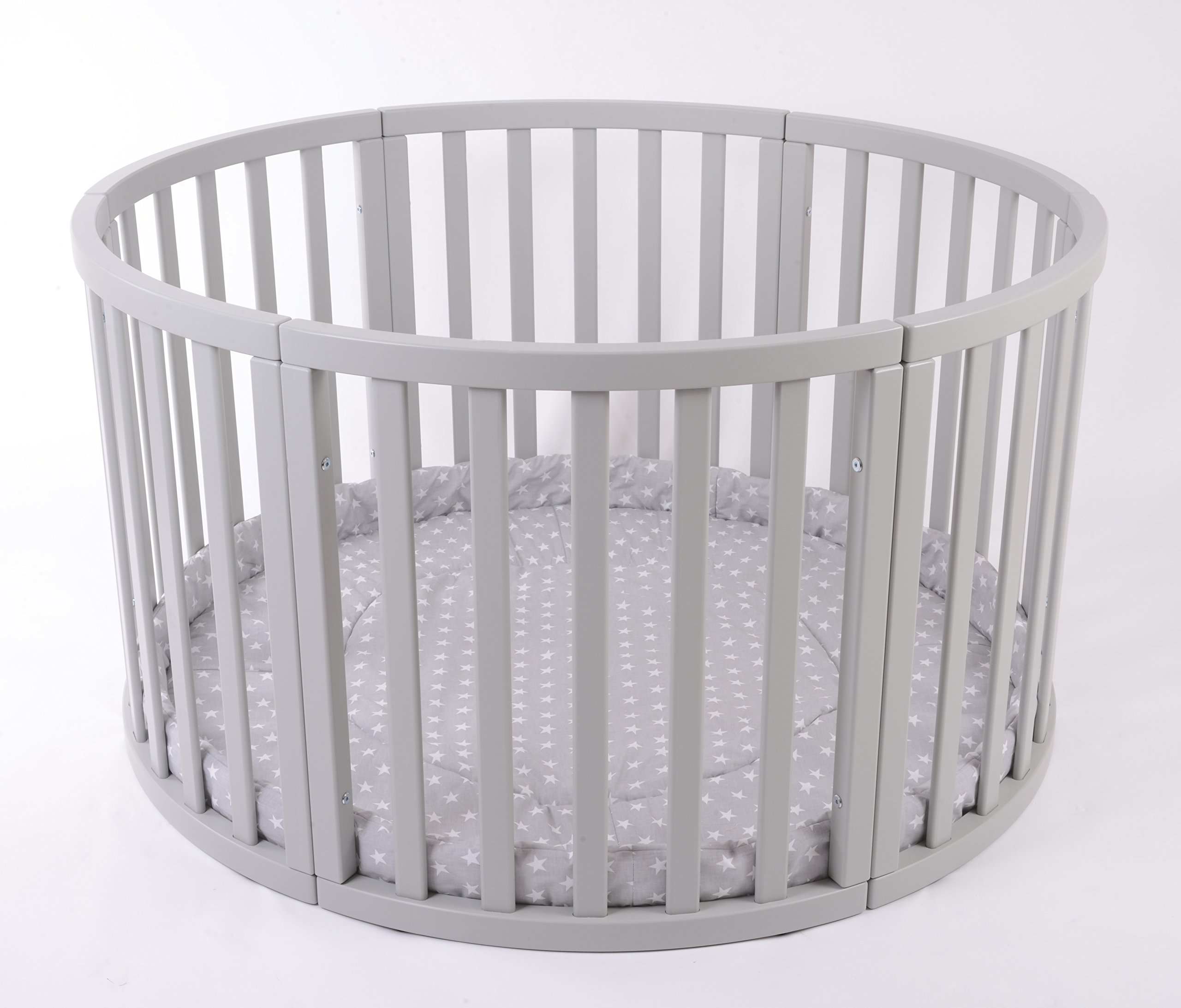 MJmark Round PLAYPEN APOLLO QUATTRO VERY LARGE Wooden play pen with play-mat SALE SALE (Grey Stars) MJmark Height 70 cm approx; Ø 120cm including Playmat made from solid hard wood (Birch) 1