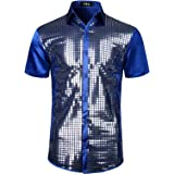 JOGAL Mens Dress Shirt Silver Sequins Short Sleeve Button Down 70s Disco Shirt Party Costume