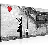 Bild Banksy Girl with Balloon Bilder Wandbild Vlies - Leinwand Bild XXL Format Wandbilder Wohnzimmer Wohnung Deko…