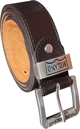 """Men's Leather Lined Jeans Belt with Roller Buckle 1.5"""" Wide"""