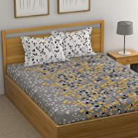 HUESLAND by Ahmedabad Cotton 144 TC 100% Cotton Double Bedsheet with 2 Pillow Covers - Grey and White