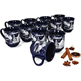MamboCat Set van 12 glühweinbekers 0,2 l donkerblauw kerstlandschap | klassieke porseleinen glühweinbekers | geijkt | ideaal