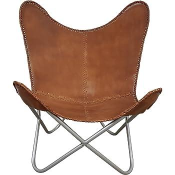 9fa74e4632aa80 Indoortrend.com Butterfly Chair Chaise Fauteuil en Cuir véritable ...