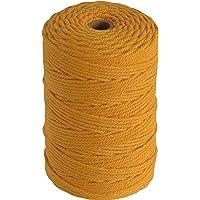 Lilly Arts Cordon pour Macramé 3mm x 200m en Coton - (Golden Yellow)