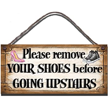 Funny Sign Birthday Occasion Shabby Chic Wooden Wall Plaque Take Your Bloody Shoes Off Gift Present by Gigglewick Gifts