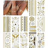 NEPAK 12 hojasPegatinas de tatuaje de metal, pegatinas de tatuaje temporal de metal, pegatinas de tatuaje falsas impermeables