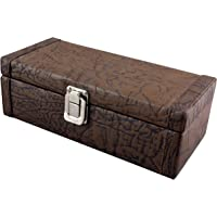 THE RUNNER PU Leather Textured Finish Watch Box for 4 Watches (Brown)