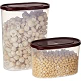 Amazon Brand - Solimo Set of 2 Kitchen Storage Containers (1650 ml, 950 ml), Brown