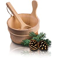 CozyNature Seau de sauna avec louche en bois de pin finlandais de haute qualité | accessoires de sauna, seau de sauna…