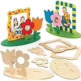 """Baker Ross Fotolijst-knutselsets """"Bloemenart"""" van hout (4 stuks) – voor kinderen om te knutselen, vormgeven en als decoratie-"""