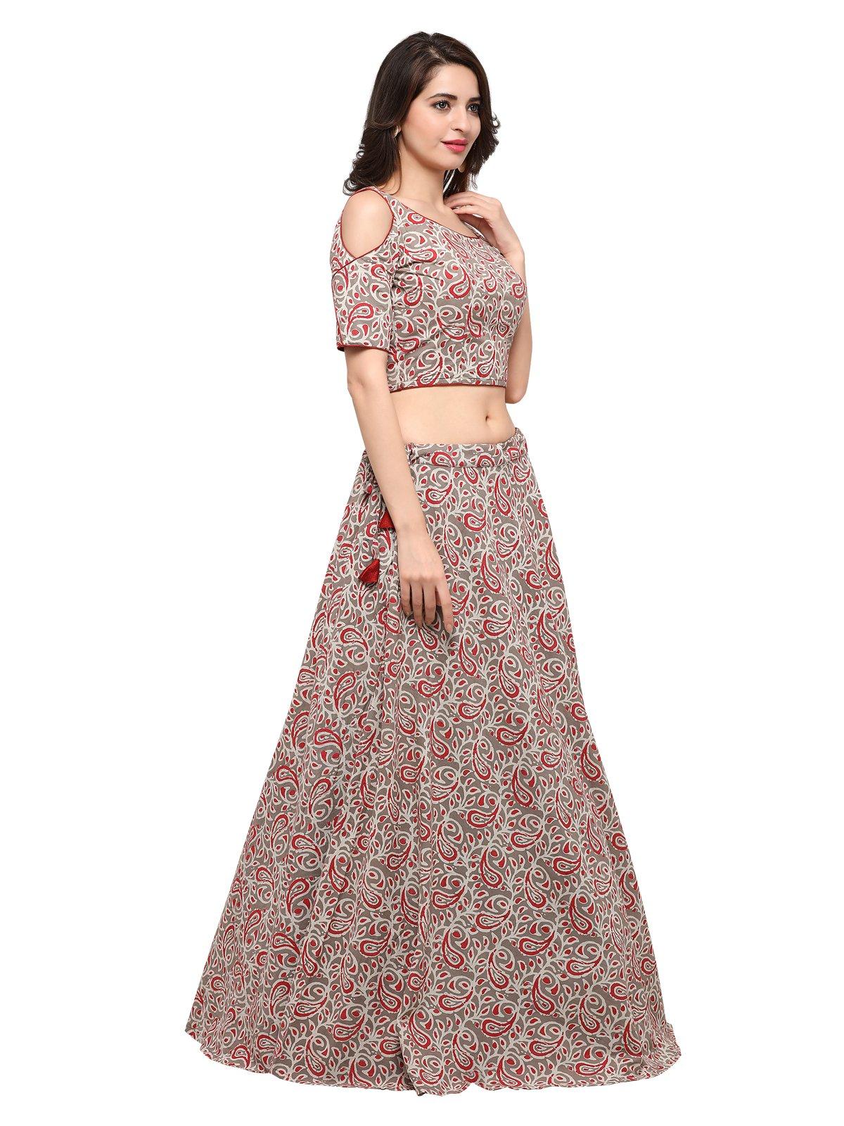 35c49ee42d Sunshine Ecommerce Women's Cotton Lahenga Choli Set - lali mix india