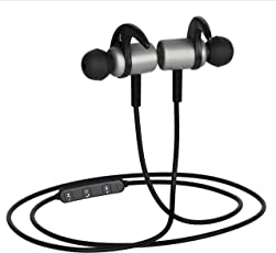 BasX Bluetooth Earphones with Mic Grey Metal Earbuds