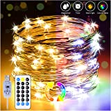 Fairy Lights Plug in USB Warm White & Multicoloured String Lights 10M/33FT 100LED Christmas Lights Waterproof IP65 Remote Tim
