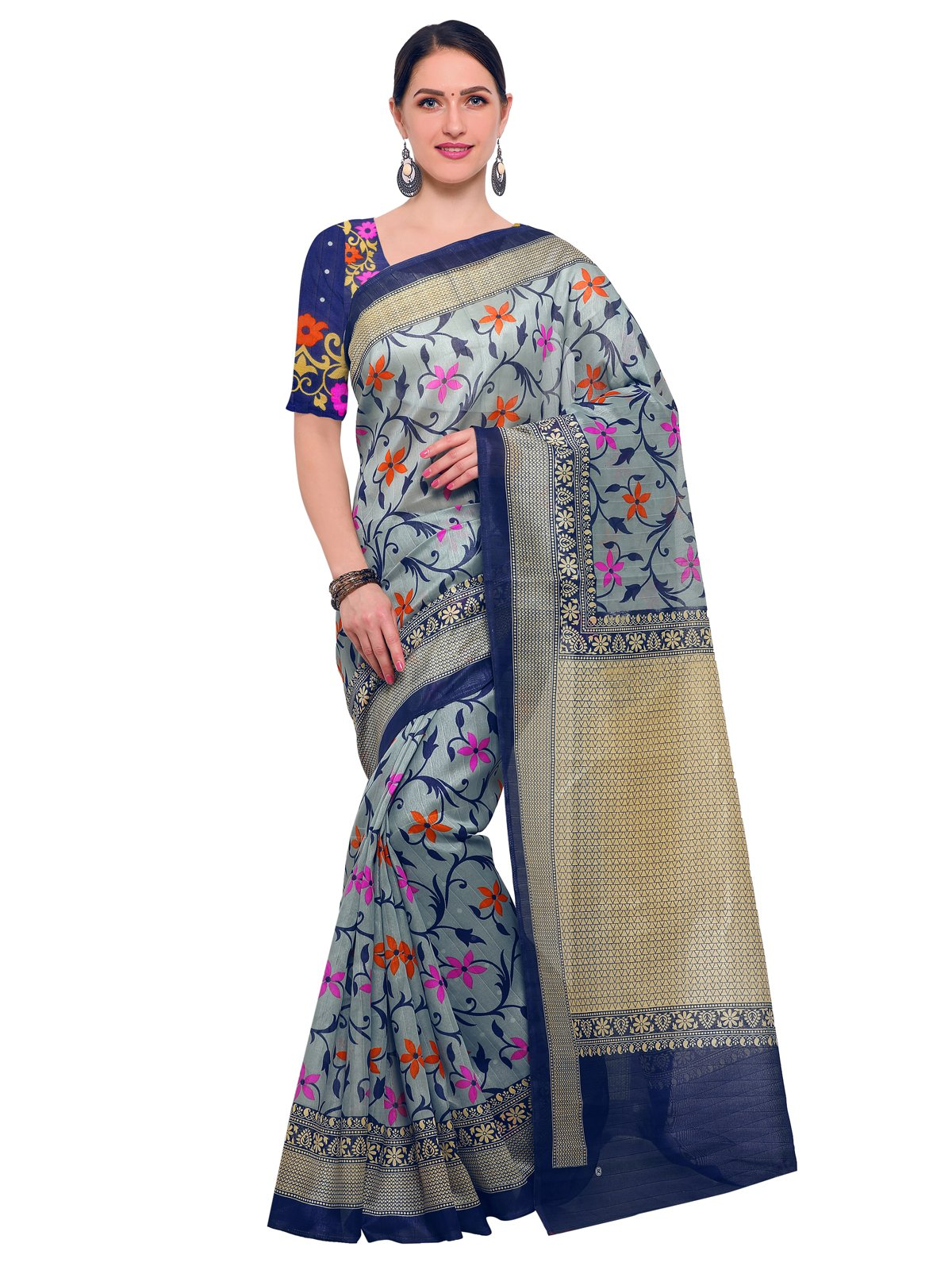 Kanchnar Women's Blue Bhagalpuri Silk Floral Printed Saree