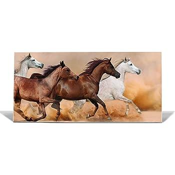 banjado Design Magnettafel silber Wandtafel magnetisch mit Motiv Wilde Pferde