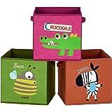 SONGMICS Boîtes de Rangement pour Enfants, Lot de 3, Paniers à Jouets, Pliables, avec poignées, Chambre d'enfant, Salle de Je