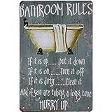 Hioni Bathroom Rules, Pancarte en Métal Panneau Poster Plaque Métallique Slogan Art Décor Vintage Pr Maison Salle De Bain