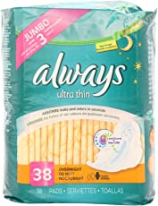 Always Ultra Thin Overnight With Wings Unscented Pads 38 Count