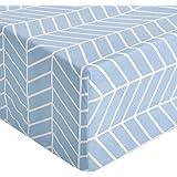 Amazon Basics Drap-housse en Microfibre de Qualité Supérieure, Bleu (Chevron Blue Fog), 160 x 200 x 30 cm