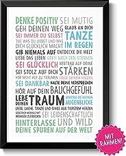 Lebe deinen Traum Bild im schwarzem Holz-Rahmen Geschenk Geschenkidee für die richtige Motivation