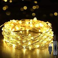 Weehey 12m 120 LED Luces de Hadas Luces de Cuerda USB IP65 Impermeable Alambre de Plata Blanco Cálido Decor del árbol de...