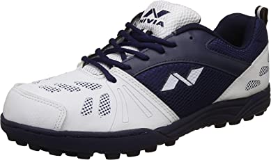 Nivia Carribean Cricket Shoes- Rubber Sole (White/Navy)