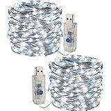 [2 pezzi] Fata leggera stringa, luce a corda a LED 10m /100 led 8 modalità Spina USB in luci a corda in rame alimentate imper