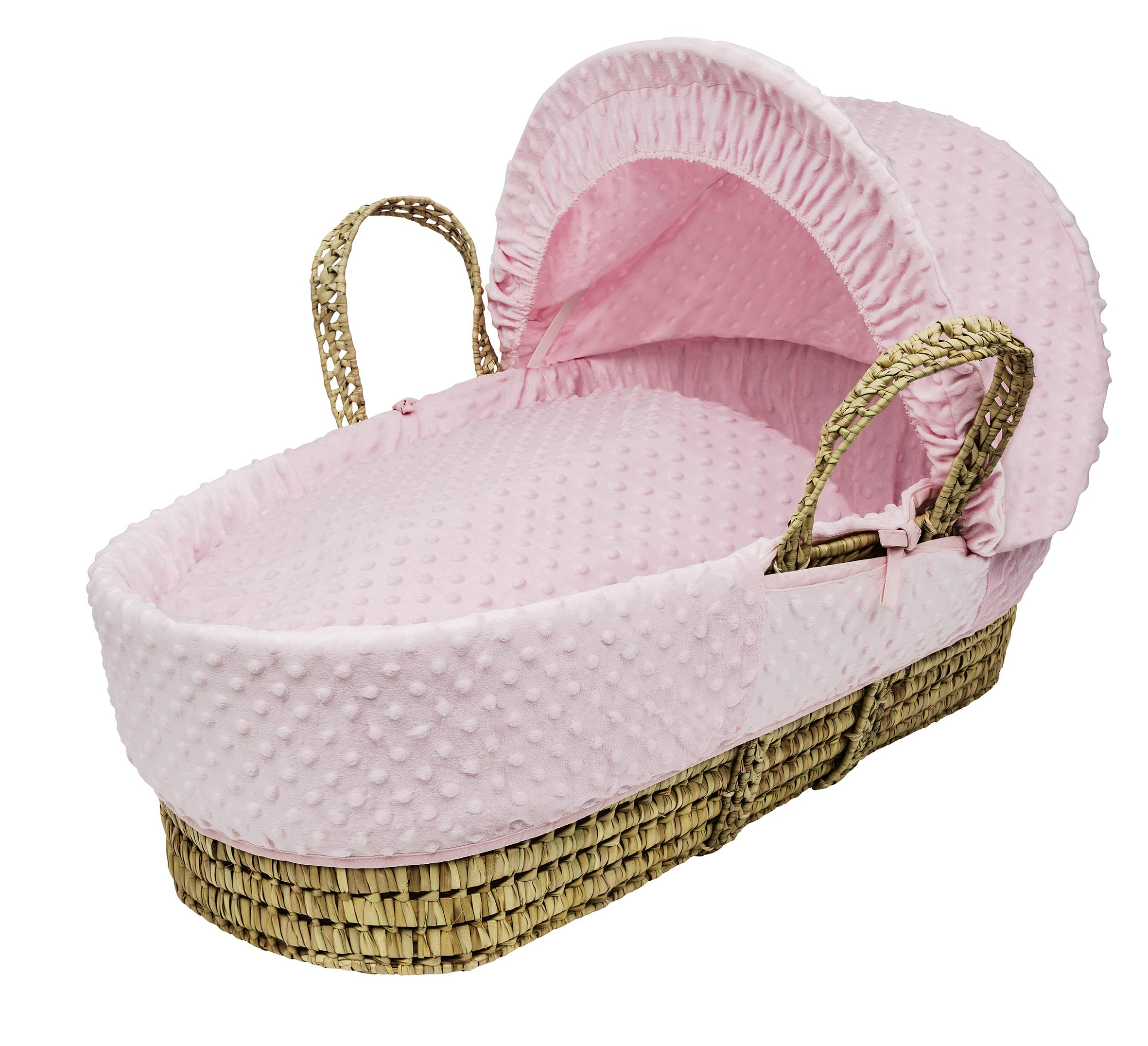 Pink Dimple Moses Basket Dressings only(Basket not included) Elegant Baby Dressings For Moses Baskets Includes Padding,Quilt, Liner,Fabric Hood Basket and Mattress and Hood bars are NOT included 2