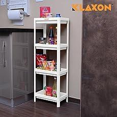 Klaxon Plastic 4-Tier Bathroom Kitchen Storage Organizer Shelf (White)