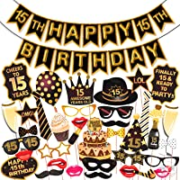 Wobbox 15th Birthday Photo Booth Party Props Brown & Golden Glitter with 15th Birthday Bunting Banner, Birthday Party…