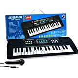 BACKGAMMON® Piano Keyboard Having 37 Key and Microphone Toy for Kids with DC Power & Option Mobile Charger Power Option…