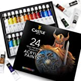 Acrylic Paint Set for Beginners, Students or Artists - A Perfect Mix of Quality and Versatility - Vivid Colours - Easy to Blend and Good Coverage on Paper, Canvas, Wood or Fabric - Not Too Thick for Great Flexibility - 100% Satisfaction Money Back Guarantee (24 piece set (24 different colours)