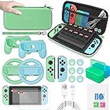 MENEEA Kit in bundle di accessori per Nintendo Switch con custodia da trasporto, protezione per schermo, impugnatura, volante