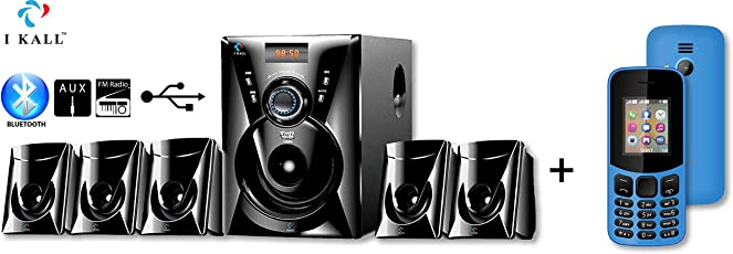 IKALL 5.1 Channel Bluetooth Multimedia Home Theater System with K12 New Basic Mobile(Sky Blue)