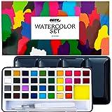 Set Acuarelas Profesionales 36 Colores Nazca Colors – Caja Metálica + Pincel y Aqua Brush – Kit Portátil Ideal para Láminas,