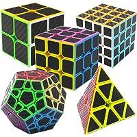 Coolzon Speed Magic Cube Ensemble Pyraminx + Megaminx + 2x2x2 + 3x3x3 + 4x4x4 5 Pack Puzzle Cube Set dans Boîte-Cadeau…