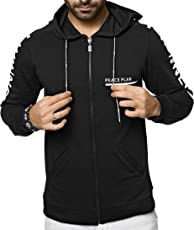 ZEYO Sweatshirts for Men | Full Sleeve Winner Printed Black Hoodies | Regular fit Zipper Hooded Tshirt