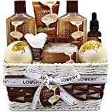 Bath and Body Gift Basket For Women and Men – 9 Piece Set of Vanilla Coconut Home Spa Set, Includes Fragrant Lotions, Extra L