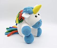 Einhorn Kuscheltier, blau Amigurumi Baby, gefüllte Geschenk, Regenbogen Plüsch für die Kleinen